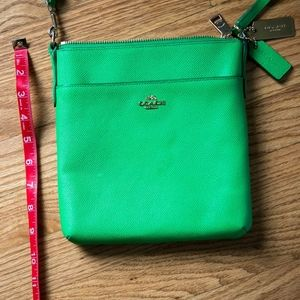 Kelly green Kitt Coach leather crossbody handbag